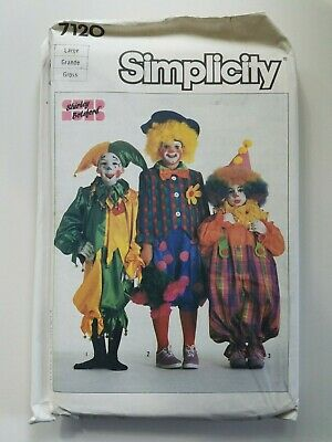 Vintage 1980s Simplicity 7120 Girl's Boys Clown Sewing Pattern Factory Fold