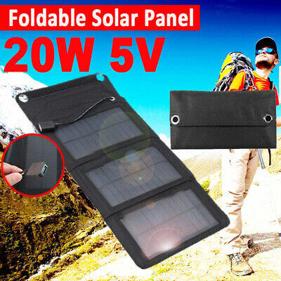 20W Foldable Solar Panel DC 5V USB Power Bank For Battery Charge Outdoor Camping