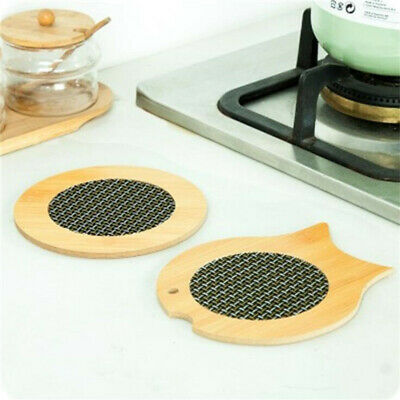 Creative Mesh Wooden Table Mat Cup Placemat Heat Insulation Bowl Dish Pad BS