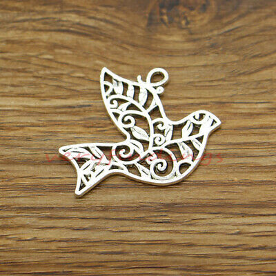 10 Large Peace Dove Charms Pendant Double Sided Bird Charm Antique Silver 30x36