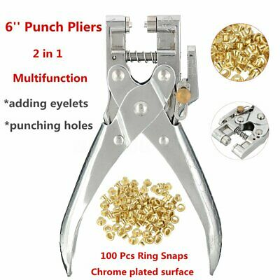 Eyelet Grommet Leather Hole Punch Pliers Steel Fabric Canvas Repair Tool Kit 6''
