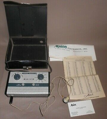 1953 Vintage Maico Hearing Testor Audiometer Test Machine in Carrying Case