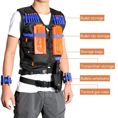 Tactical Vest Jacket +20Refill Bullet Clip Cartridge Kit For Nerf Toy Guns Elite