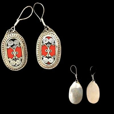 VERY RARE GANDHARA ANCIENT SILVER EARRINGS 200-400 AD (Large Size) (1)