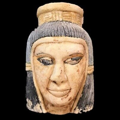 EGYPTIAN PHAROAH BUST STATUE, LATE PERIOD 664 - 332 BC (2) Large Over 12 Cm