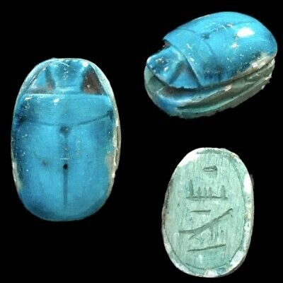 Beautiful Ancient Egyptian Blue Glazed Scarab 300 Bc (8)