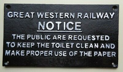 Heavy Cast Metal RAILWAY SIGN `GWR NOTICE Great western ` Lovely Gift Present