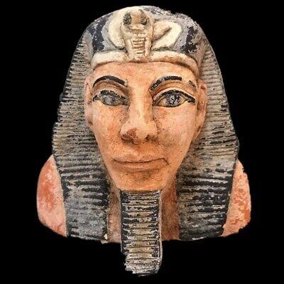 EGYPTIAN PHAROAH BUST STATUE, LATE PERIOD 664 - 332 BC (3) Large Over 12 Cm