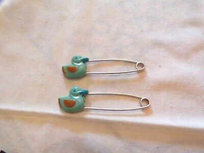 Vtg Diaper Pins lot of 2 Blue Ducks