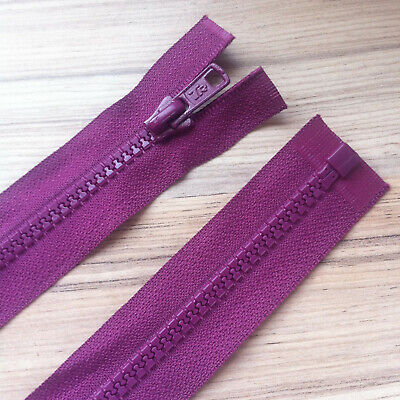 """WINE/ BURGUNDY CHUNKY PLASTIC OPEN END ZIP -26""""/ 66 CM QUALITY (No 5 weight)"""