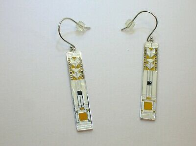 Art Deco Style Sterling Silver Earrings With Enamel -New Old Stock - Best Offer