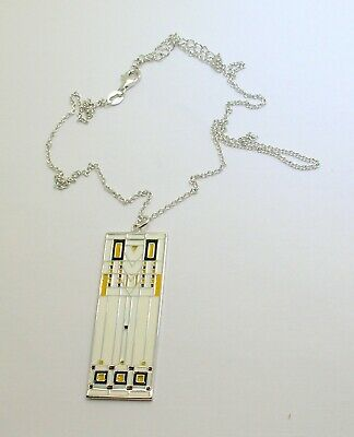 "Art Deco Style Sterling Silver 18"" Necklace W/Multi Color Enamel - New Old Stock"