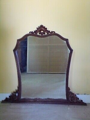 Antique  Hand Carved  Overmantle Mirror C1920 (HS99)
