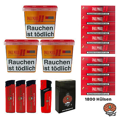 3x Pall Mall Allround Giga Box 250g Volumentabak, 1800 Authentic Red Xtra Hülsen