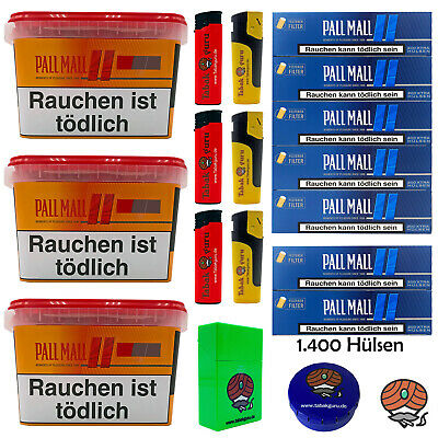 3x Pall Mall Allround Mega Box 185g Volumentabak,1400 Authentic Blue Xtra Hülsen