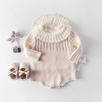 O-Neck Knitted Baby Romper Set Autumn Cardigan Cotton Sweater Solid Jumpsuit