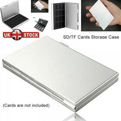 Silver Aluminum Memory Card Storage Case Box Holders For Micro SD Card 24TF UK