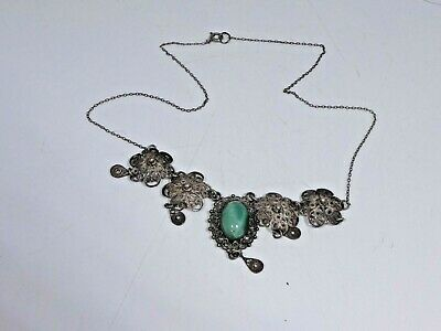 Antique Sterling Silver Necklace With A Green Semi Precious Center Stone