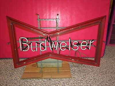 "Vintage 50s/60s Budweiser Bud Beer Large 30"" Wide Bowtie Glass Neon Bar Pub Sign"