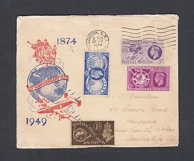 Uk 1949 75Th Anniversary Upu Cover London To New South Wales Australia
