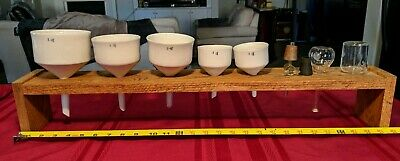Vintage Coors Pyrex USA Collection. Porcelain Funnels+ Pyrex Glass+ Display