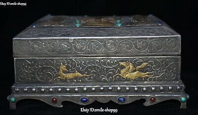 Old 100% Pure Silver Gem Western Sakyamuni Kwan-Yin Buddhism Scripture Box Case