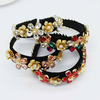 Baroque Women's Crystal Crown Embellished Headband Hairband Hair Band Party