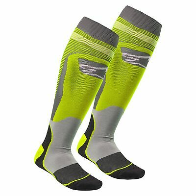 Alpinestars Mx Plus-1 Mens Underwear Boot Socks - Yellow Fluo Cool Grey