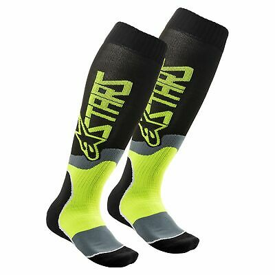 Alpinestars Mx Plus-2 Mens Underwear Boot Socks - Black Fluo Yellow All Sizes