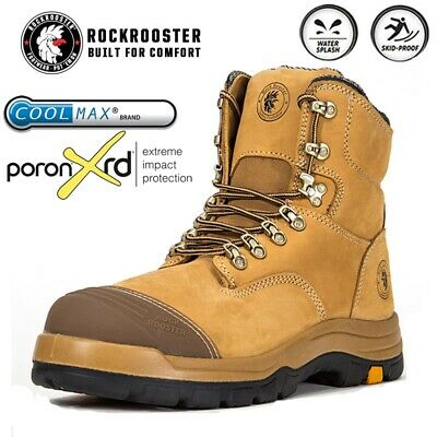 ROCKROOSTER Safety Work Boots Mens Steel Toe Cap Slip Resistant Lace up Shoes