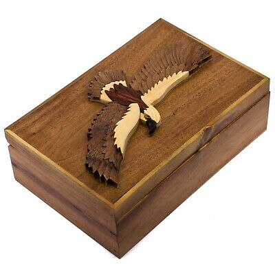 "Wood Intarsia Hawk Eagle Large Size Jewelry Box Trinkets 9"" x 6"" Handcrafted New"