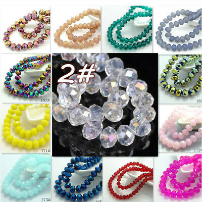 100pcs Rondelle Faceted Crystal Glass Loose Spacer Beads Wholesale 6x4mm