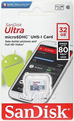 SanDisk Ultra 32GB MicroSDHC 80MB/s Memory Card - DuckTECH