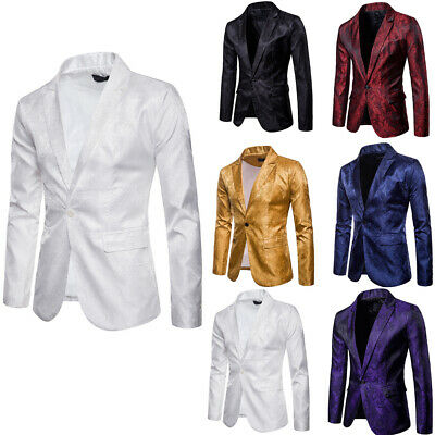 Stylish Mens Jacquard Suit Coat Casual Slim Formal One Button Blazer Jacket Tops