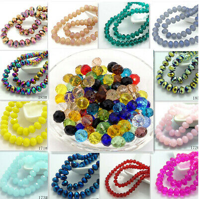 200pcs Rondelle Faceted Crystal Glass Loose Spacer Beads Wholesale 3x2mm
