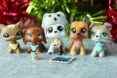 5 Lot Authentic Hasbro Littlest Pet Shop LPS Collie Short Hair Cat Great Dane