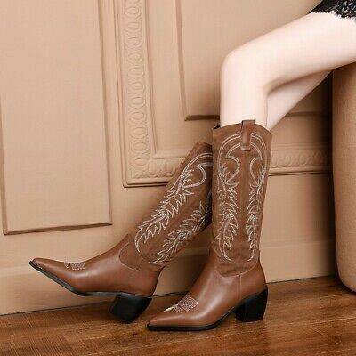 Womens New Embroidered Studs Tassel Boho Mid Heel Cowboy Ankle Boots Shoes SKGB