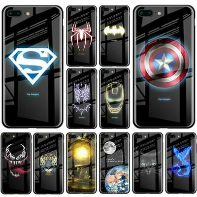 Marvel Avengers Luminous Tempered Glass Case for iPhone 11 Pro XS Max 8 7 Cover