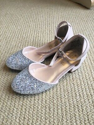 Gorgeous Monsoon girls silver glitter and pink occasion shoes size 10