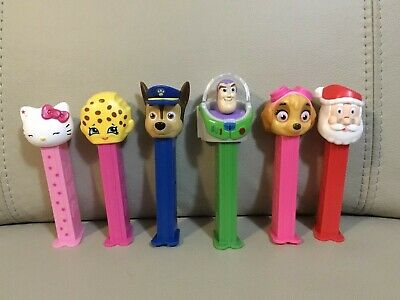 6 x Assorted Pez Dispensers - Santa, Hello Kitty, Buzz Lightyear & More!