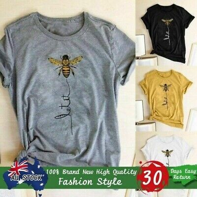 Women Fashion Tops Letter Printed Funny Let It Bee Printed Casual Loose T-shirt