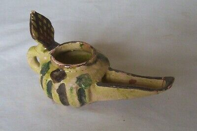 Decorated Persian Glazed pottery Oil Lamp c. 9th - 11th century A.D.