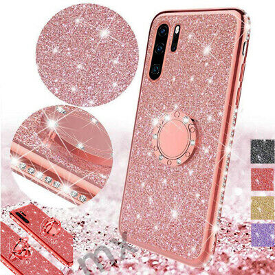 For Samsung S10 5G A9 2018 Case Shockproof Luxury Bling Glitter Ring Kickstand