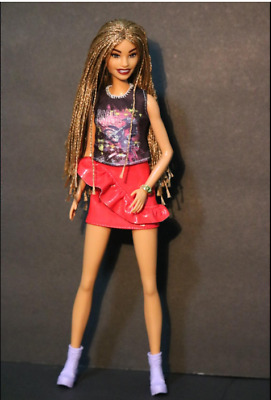 Barbie Doll Fashionistas Long Hair Style In Braids Brunette Red Dress 12Inch 123