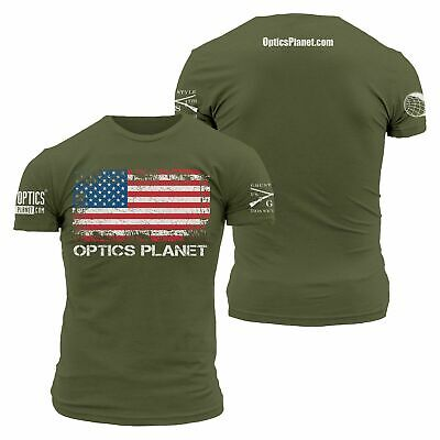 OpticsPlanet Exclusive Grunt Style American Flag T-Shirt : 3001-Military Green-M