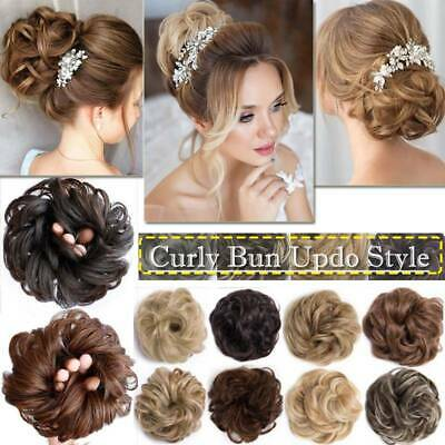 Messy Rose Bun Hair Piece Scrunchie Ponytail Hair Extensions Blonde Updo Chignon