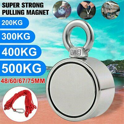 Round Double Sided Super Strong Neodymium Fishing Magnet 200-500kg Pulling Force