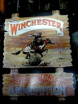 Winchester Firearms Ammunition Tin Metal Sign