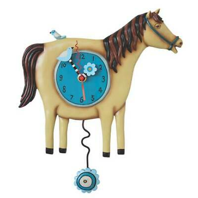 Wall Clock Horse with Pendulum Kitchen Watch Country House Allen Design Gift