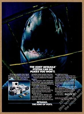 1983 Great White Shark scary photo Sony Betamax marine camera vintage print ad
